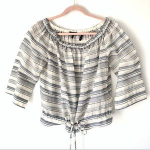 Theory Odettah Vall Stripe Off Shoulder Blouse